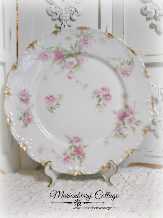 Vintage Limoges France pink roses display plate