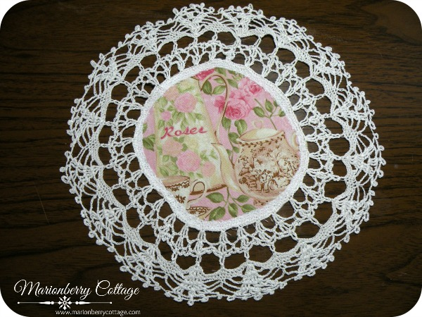 Vintage Crochet doily Tea and pink roses