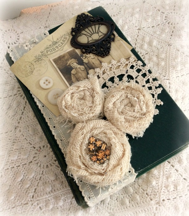 Vintage stacked book bundle 3 lace rolled roses