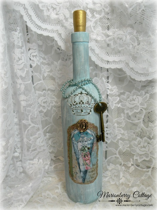 French Crown altered art wine bottle vase aqua blue