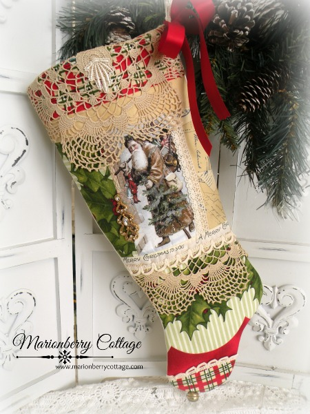 Vintage Victorian Santa with tree long stocking
