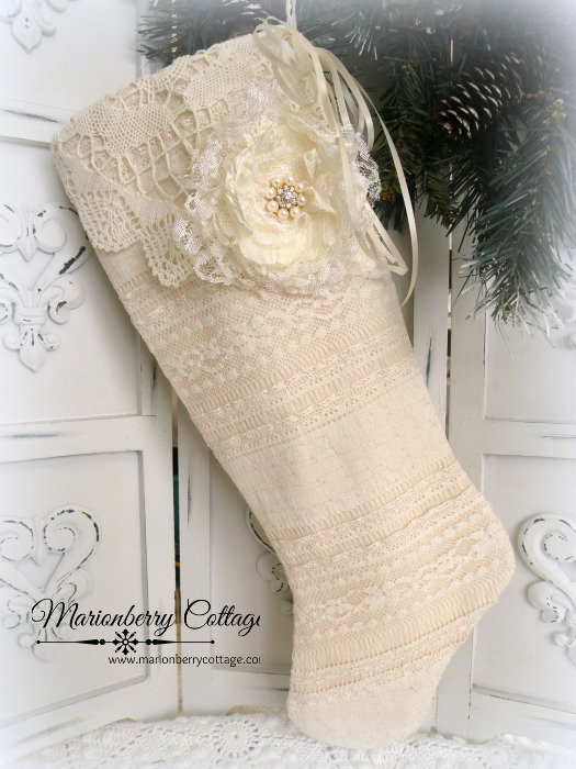 Victorian ivory layered lace long Stocking