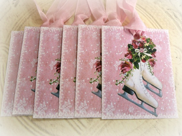 Gift Tags Ice Skates and pink roses