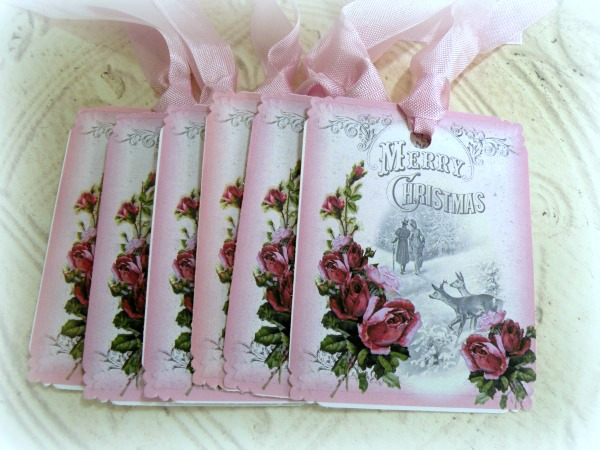 Gift Tags Merry Christmas pink roses