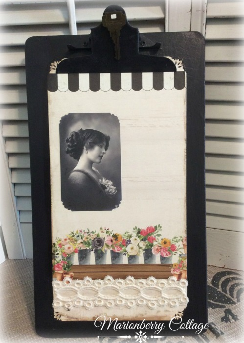 Charcoal and lace Vintage clipboard wall art
