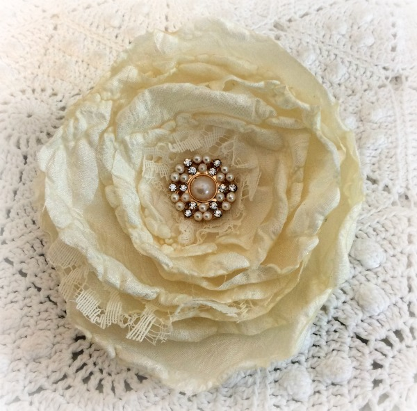 Ivory satin & lace curled rose brooch