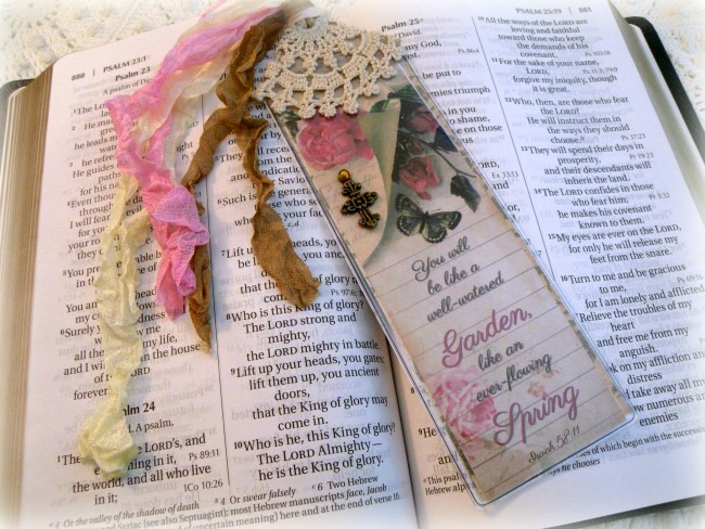 Christian Bible Bookmark Spring Garden verse