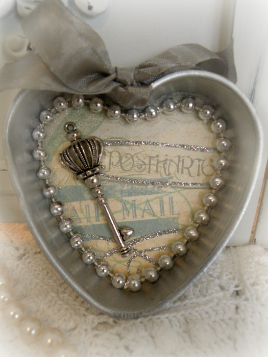 Vintage Postcard heart jello mold assemblage with magnet
