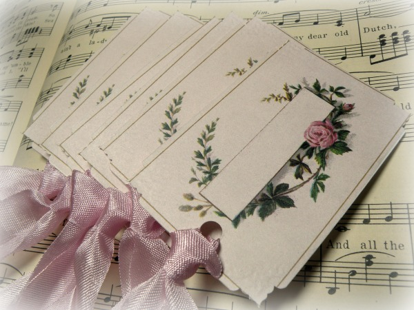 Gift tags Vintage calling card single pink rose