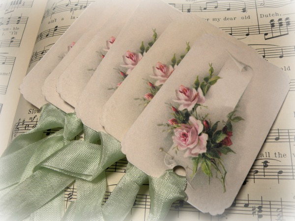 Gift tags Vintage calling card pink roses