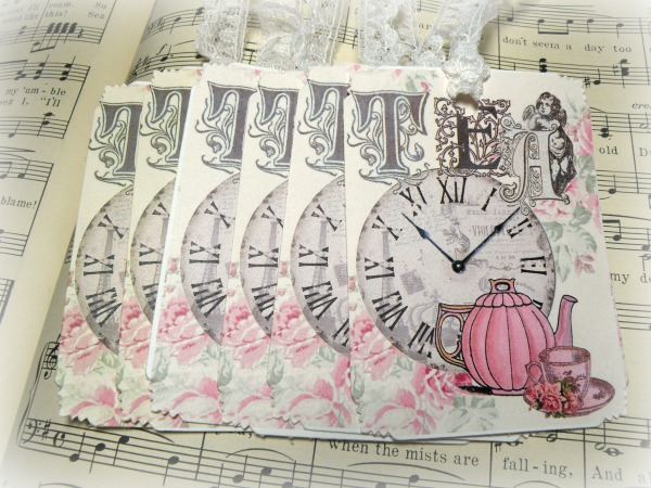 GIFT TAGS Vintage Victorian Tea Time