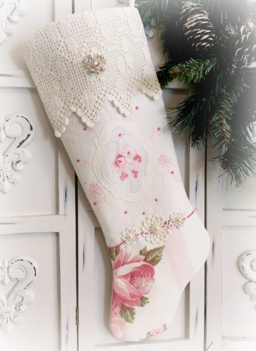 Vintage Pink embroidery & Crochet long stocking