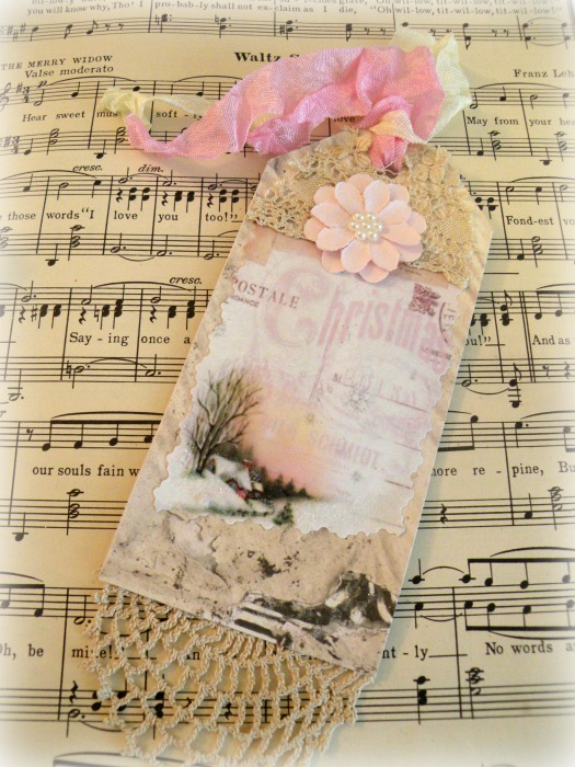 Vintage Pink Christmas gift tag