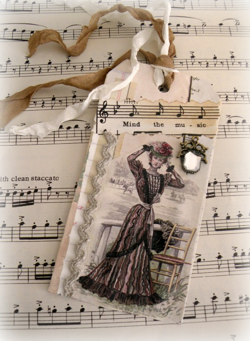 Vintage Music theme gift tag