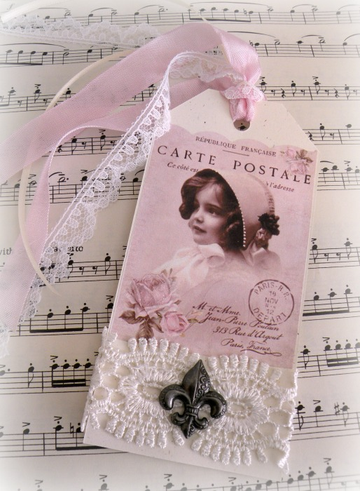 Vintage French postcard gift tag