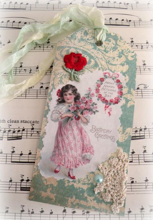 Vintage Birthday Roses Gift tag
