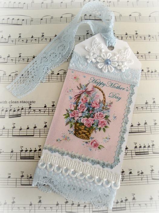 Vintage Basket of Roses for Mothers gift tag