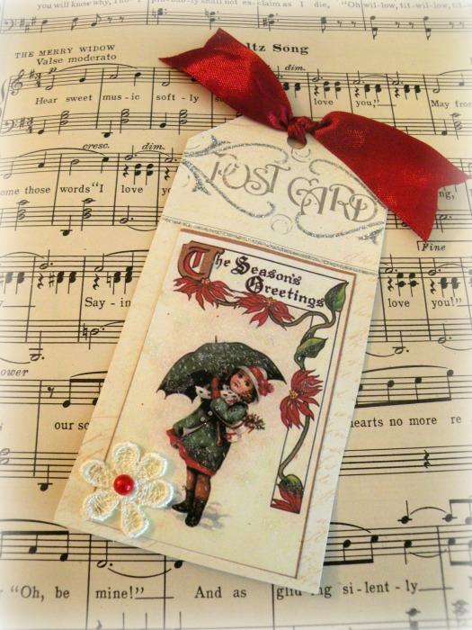 Vintage Brundage Seasons Greetings gift tag