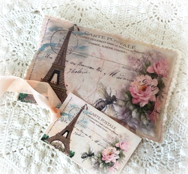 Vintage French Sachet Eiffel tower & Roses