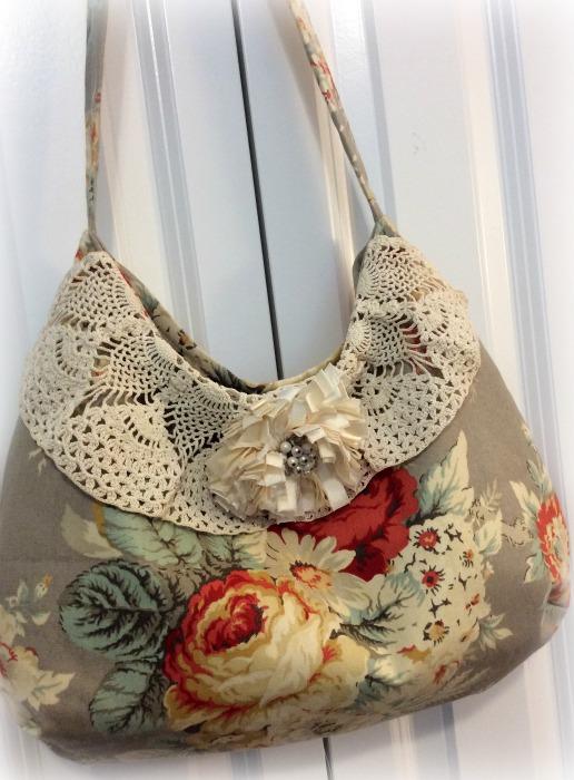 Waverly Roses Bouquet Hobo handbag