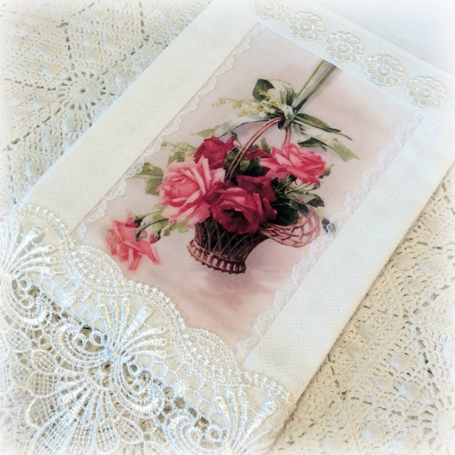 Guest Tea towel Basket of Roses