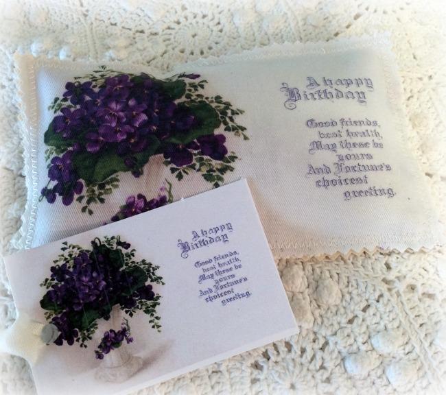 Vintage Postcard Lavender Sachet Birthday Violets