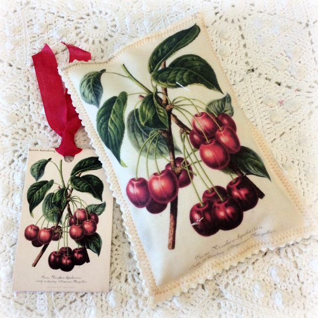 Vintage Postcard Sachet fresh picked Cherries