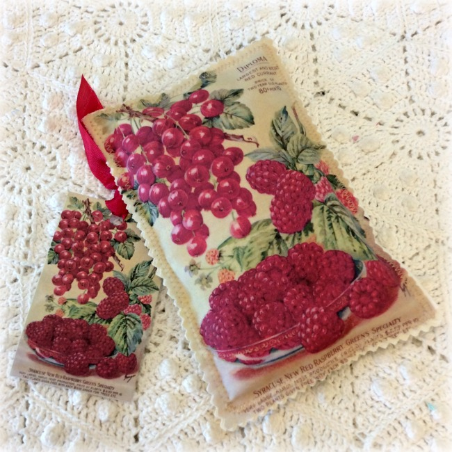 Vintage Postcard Sachet Raspberries and Cherries