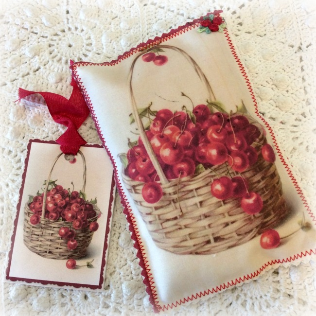 Vintage Postcard Sachet Basket of Cherries