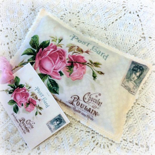 Vintage Postcard Lavender French pink roses