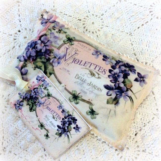 Vintage Postcard Lavender Sachet French Violettes