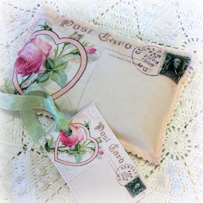 Vintage Postcard Pink rose Heart Lavender Sachet