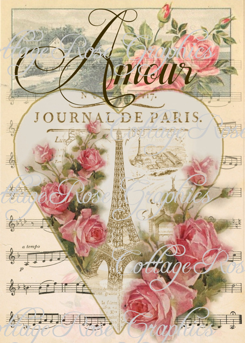 Vintage PARIS JOURNAL AMOUR art print