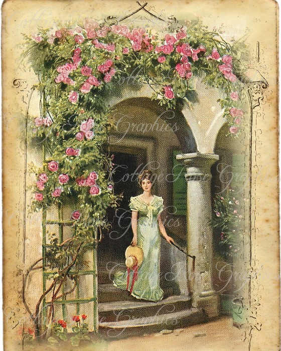 Vintage COTTAGE PORCH art print
