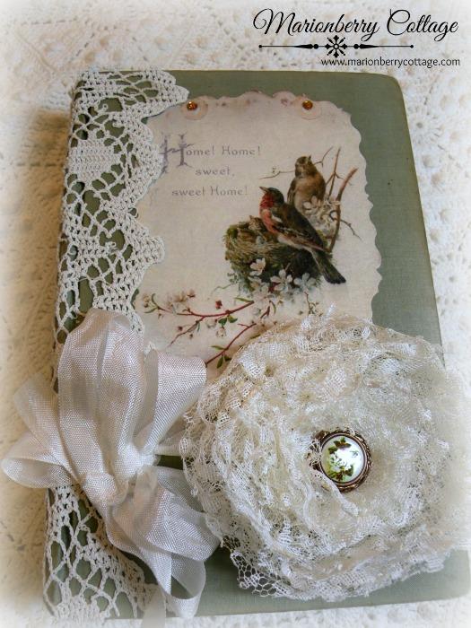 Vintage stacked book bundle romantic lace rose