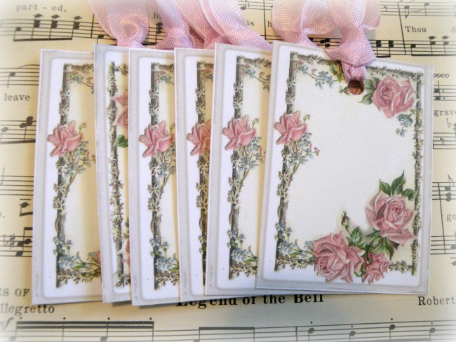 Gift tags soft pink roses
