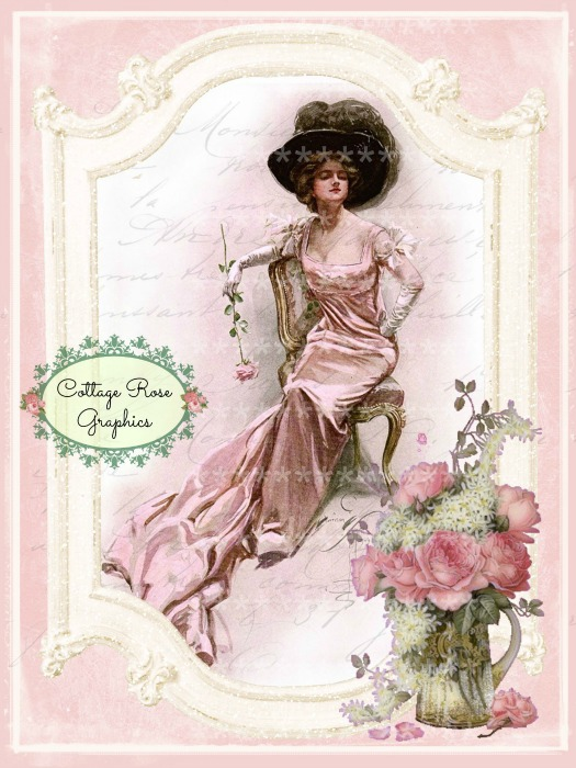 Vintage French Pink Parlor collage art print