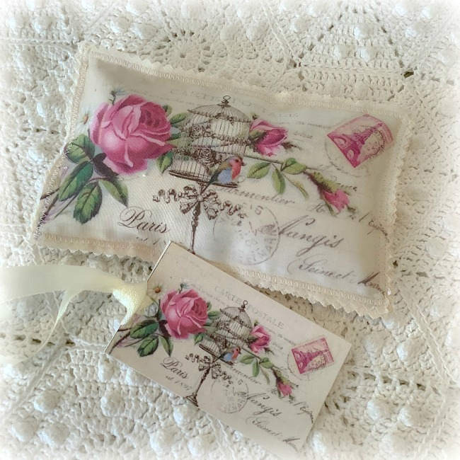 Vintage Postcard Lavender Sachet French Roses and Bird cage