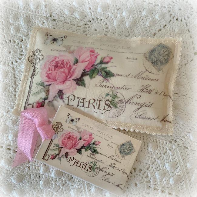 Vintage Postcard Lavender Sachet Key to Paris pink roses