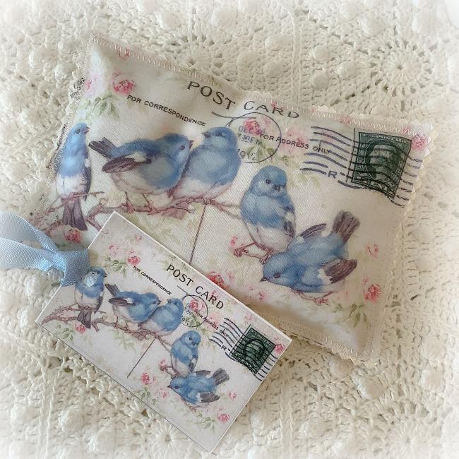 Vintage Postcard Lavender Sachet Blue Birds