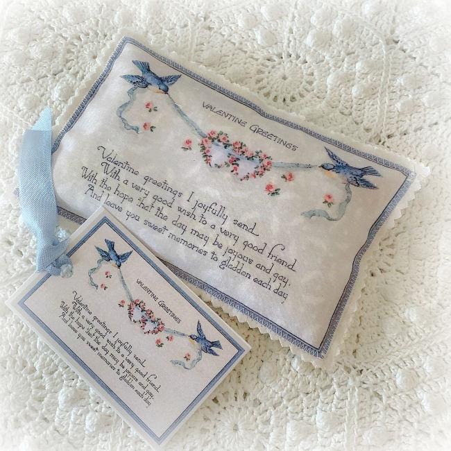 Vintage Valentine Lavender Sachet Blue Birds & Roses