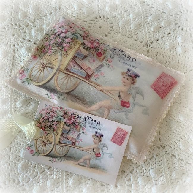 Vintage Valentine Postcard Lavender Sachet Flower Cart