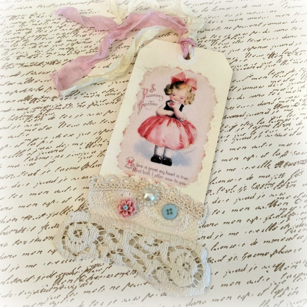 Little Girl Love Valentine gift tag