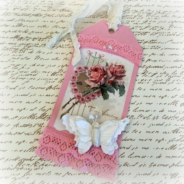 Vintage Pink Roses Valentine tag