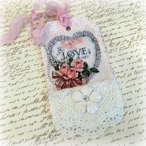 Heart Roses Valentines Day gift tag