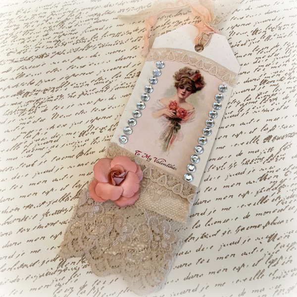 Lady with Roses gift tag