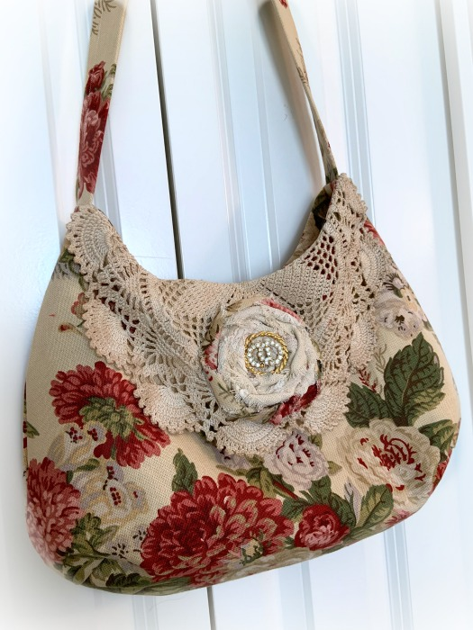 Vintage Red Rose Slouchy Hobo handbag