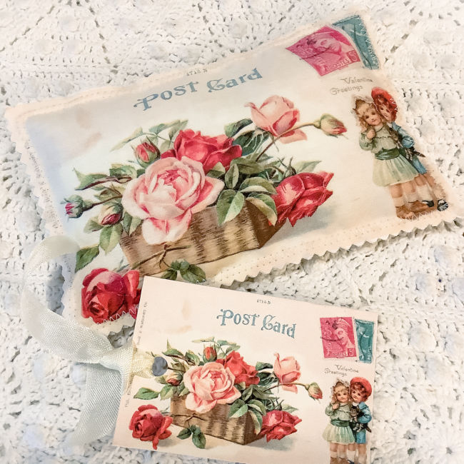 Vintage Valentine Postcard Sachet Roses and Children