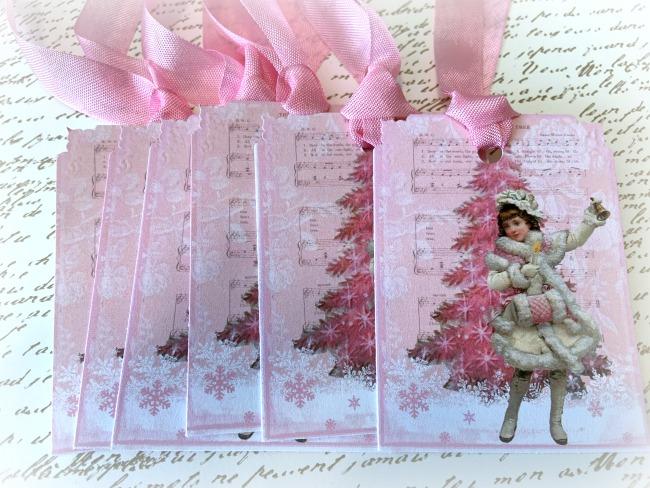 GIFT TAGS vintage Pink Christmas tree