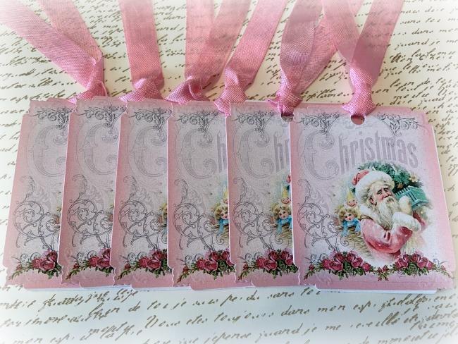 Gift tags Pink Santa